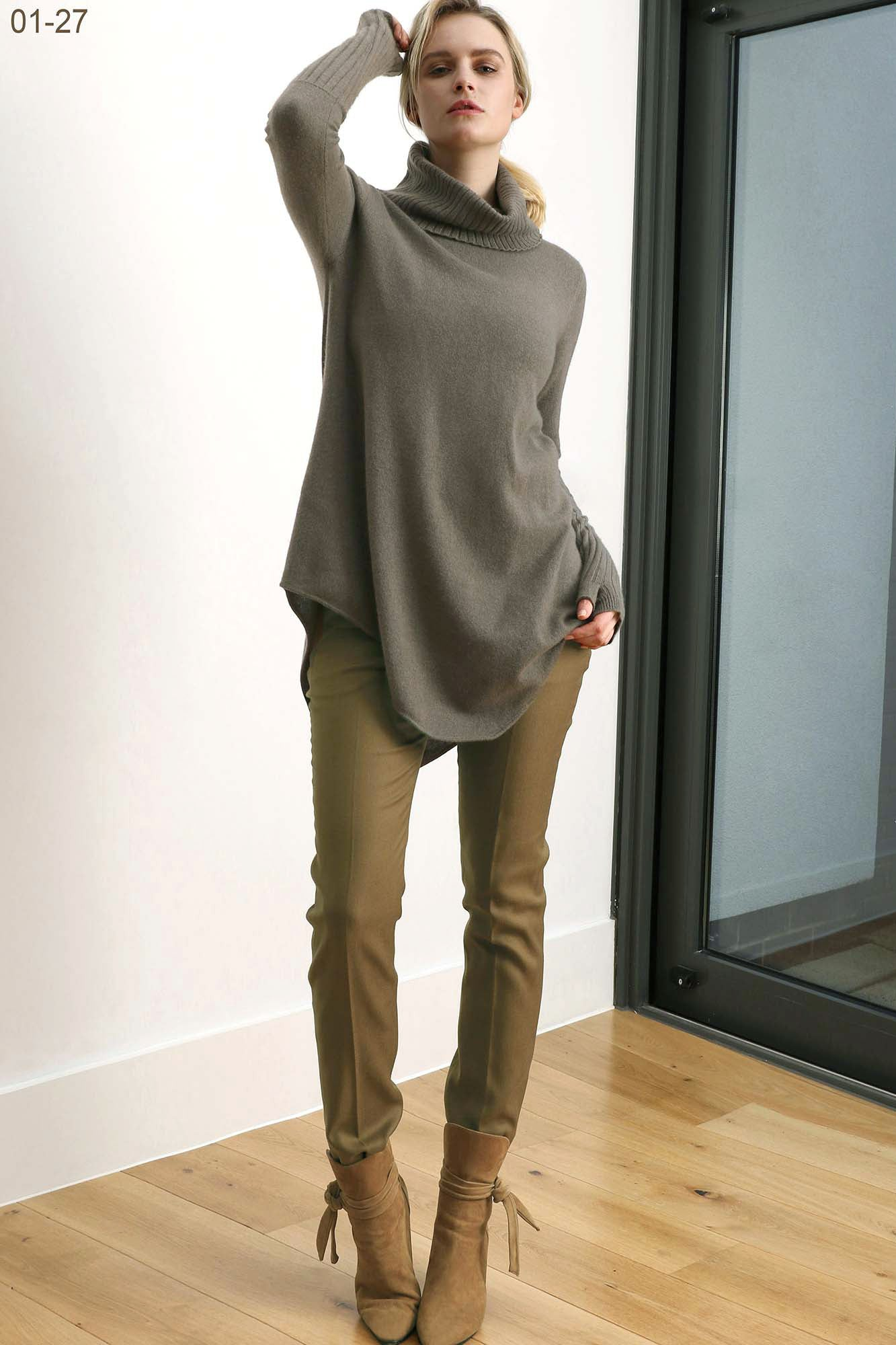 Cashmere Tunic Dress with Roll polo neck in khaki green SEMON Cashmere