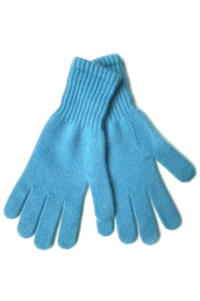Womens 100% pure cashmere gloves in sky blue | SEMON Cashmere