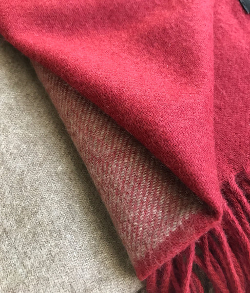 Cashmere check blanket, bed spread, throw in natural beige red