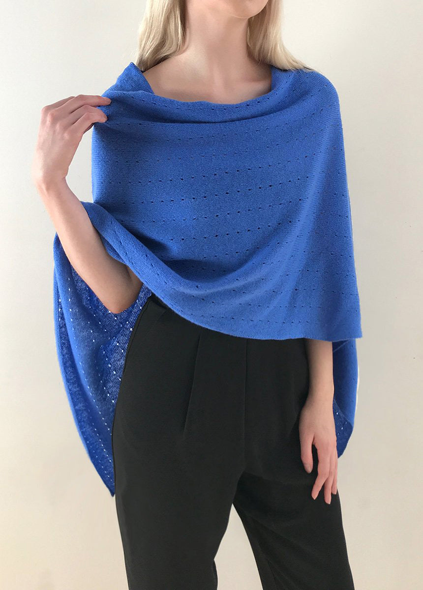 Multiwear Cashmere Poncho in Cornflower blue
