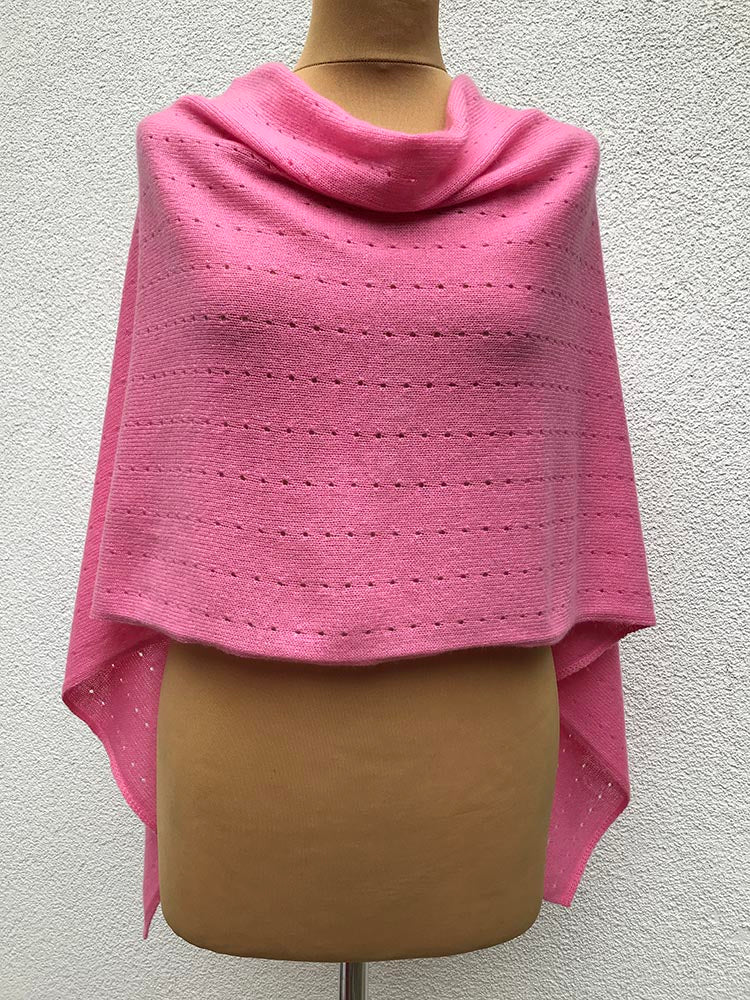 Multiwear Cashmere Poncho in Candy pink