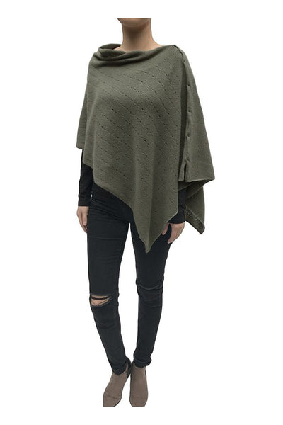 Khaki cashmere poncho | Multiway lacy poncho with buttons