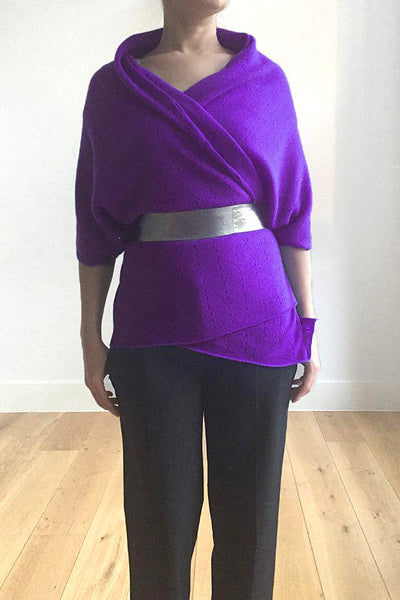 Multiwear Cashmere Poncho in Violet