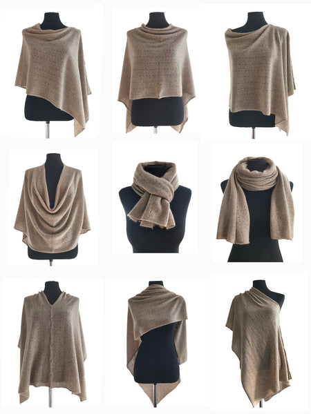 Multiwear Cashmere Poncho in Light grey