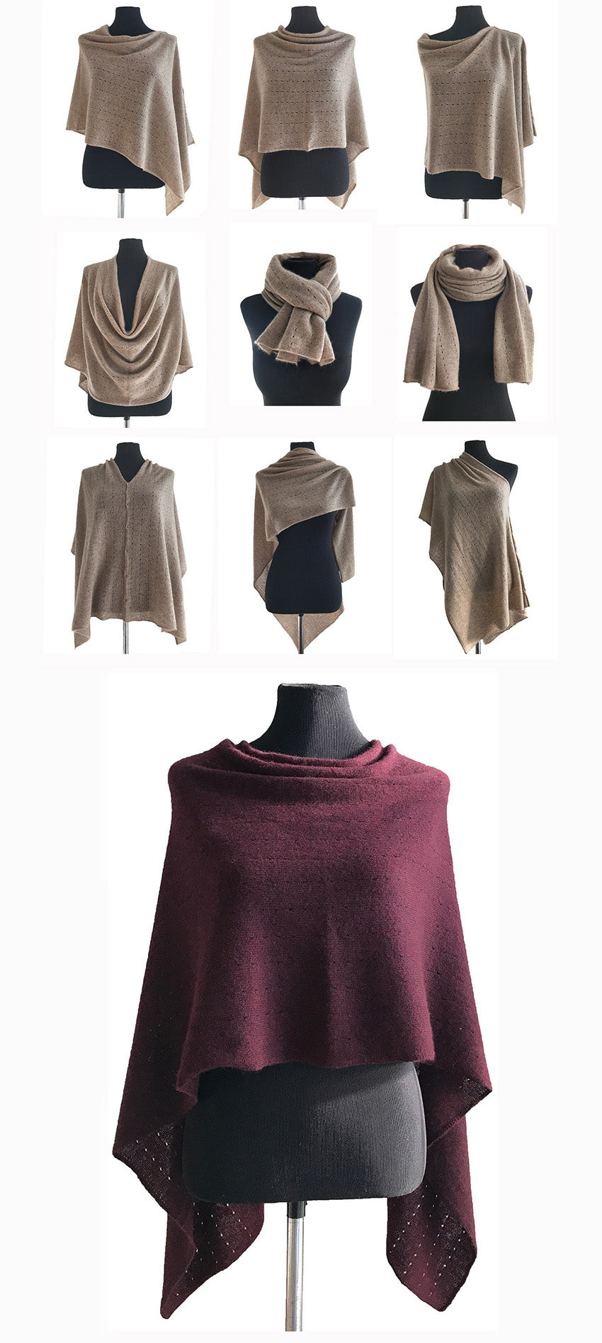 Multiwear Cashmere Poncho in Burgundy red