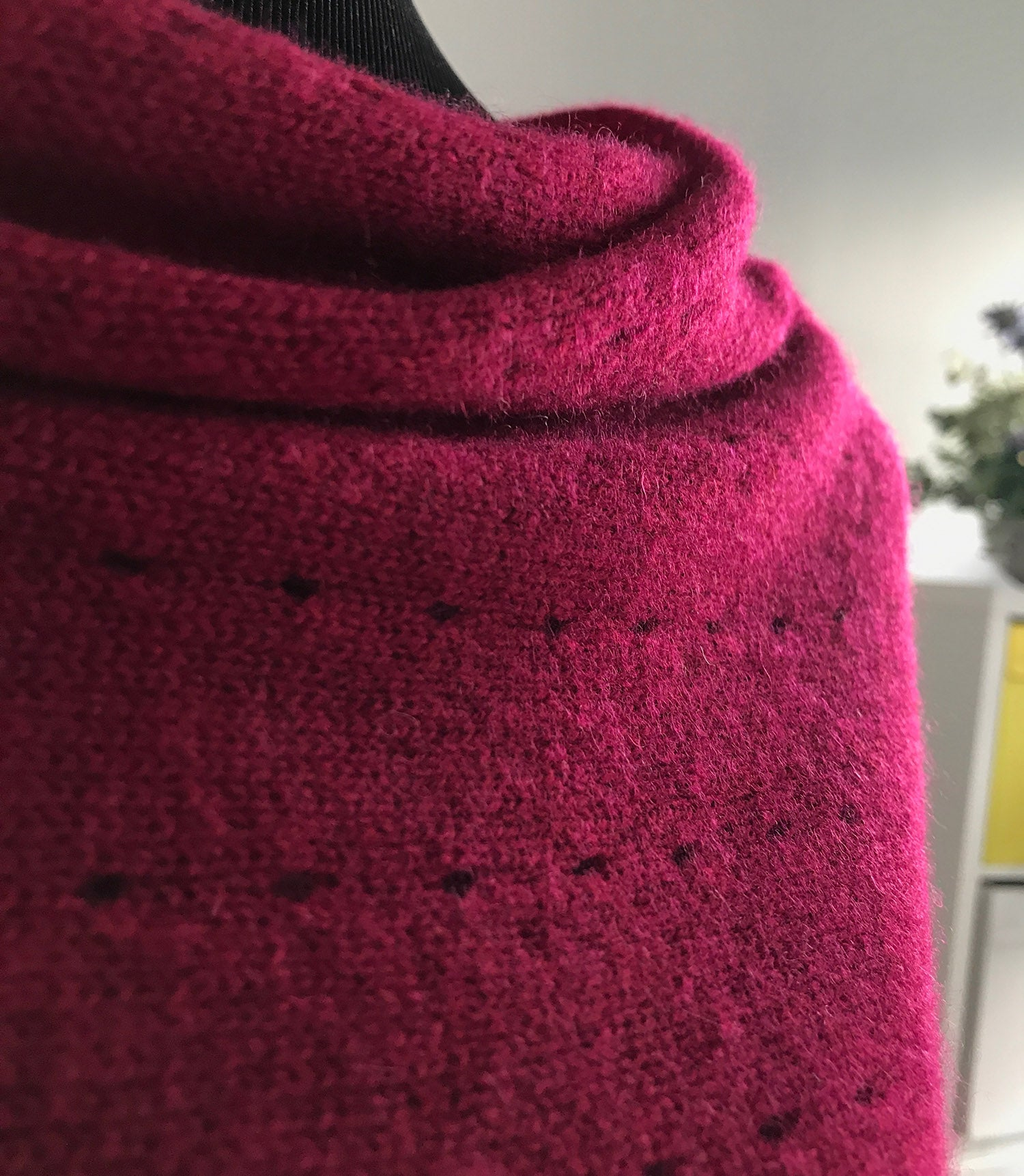 Cherry red Cashmere Poncho UK, pink Women Wrap, Cape, Shawls, Scarf, shawl, cardigan, light weight, summer poncho, ladies small button poncho sweater sale | SEMON Cashmere