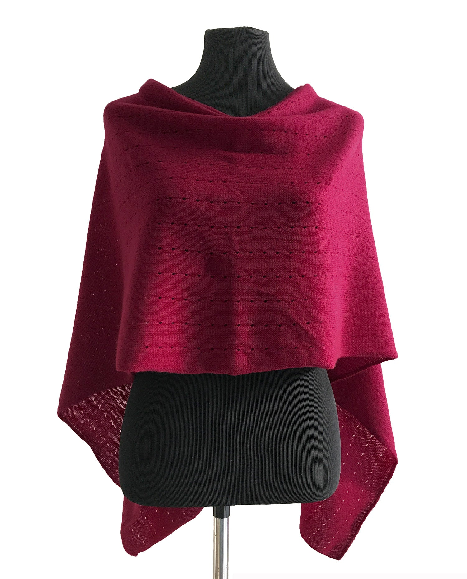 Multiwear Cashmere Poncho in Deep cherry red pink