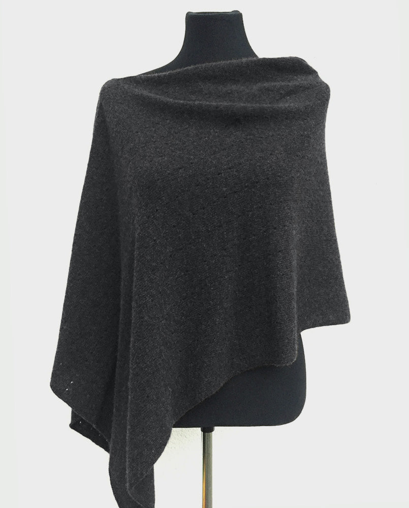 Charcoal dark grey Cashmere Poncho UK, Women Wrap, Cape, Shawls, Scarf, shawl, cardigan, light weight, summer poncho, ladies small button poncho sweater sale | SEMON Cashmere