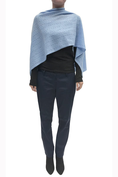 Multiwear Cashmere Poncho in Powder blue