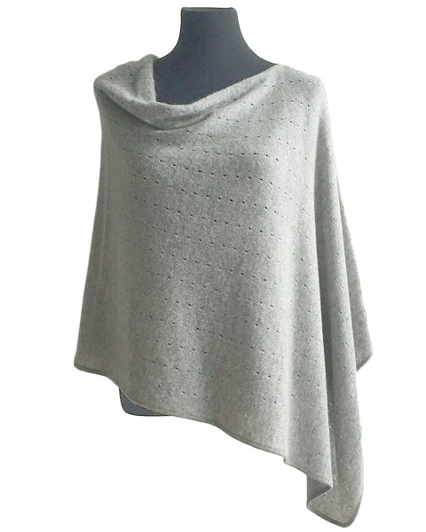 Light grey Cashmere Poncho UK, Women Wrap, Cape, Shawls, Scarf, shawl, cardigan, light weight, summer poncho, ladies small button poncho sweater sale | SEMON Cashmere