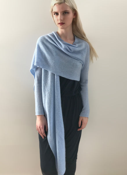 Long front light weight cashmere cardigan in powder blue