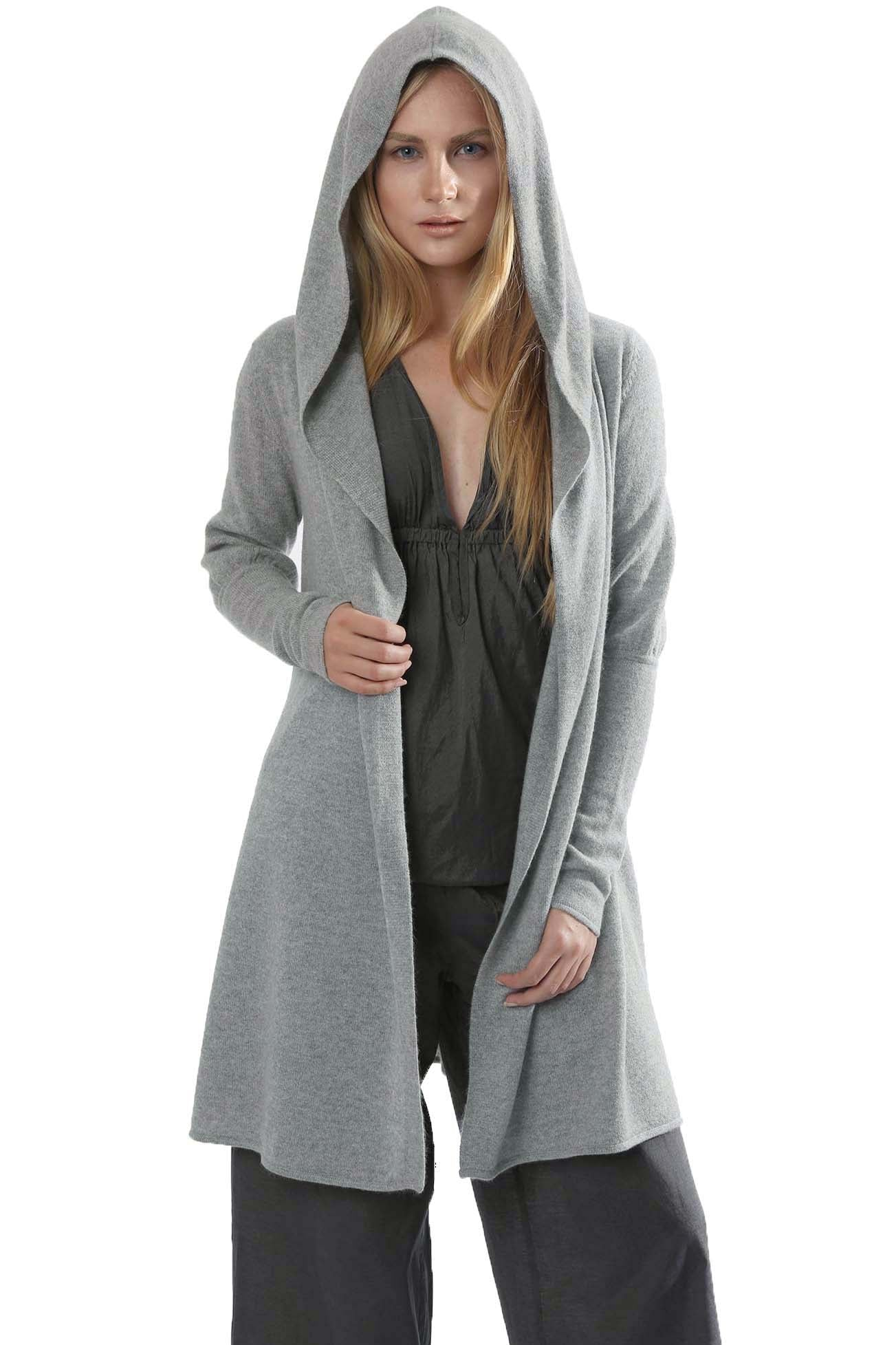Long open hooded cashmere cardigan, cashmere Hoodie womens, silver grey cashmere cardigan | SEMON Cashmere