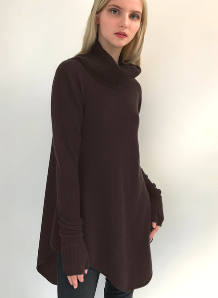 Cashmere Tunic Dress with Roll neck in Chocolate brown