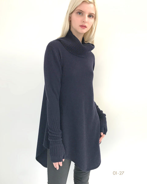 A-line cashmere tunic sweater dress with roll neck navy UK clothing sale