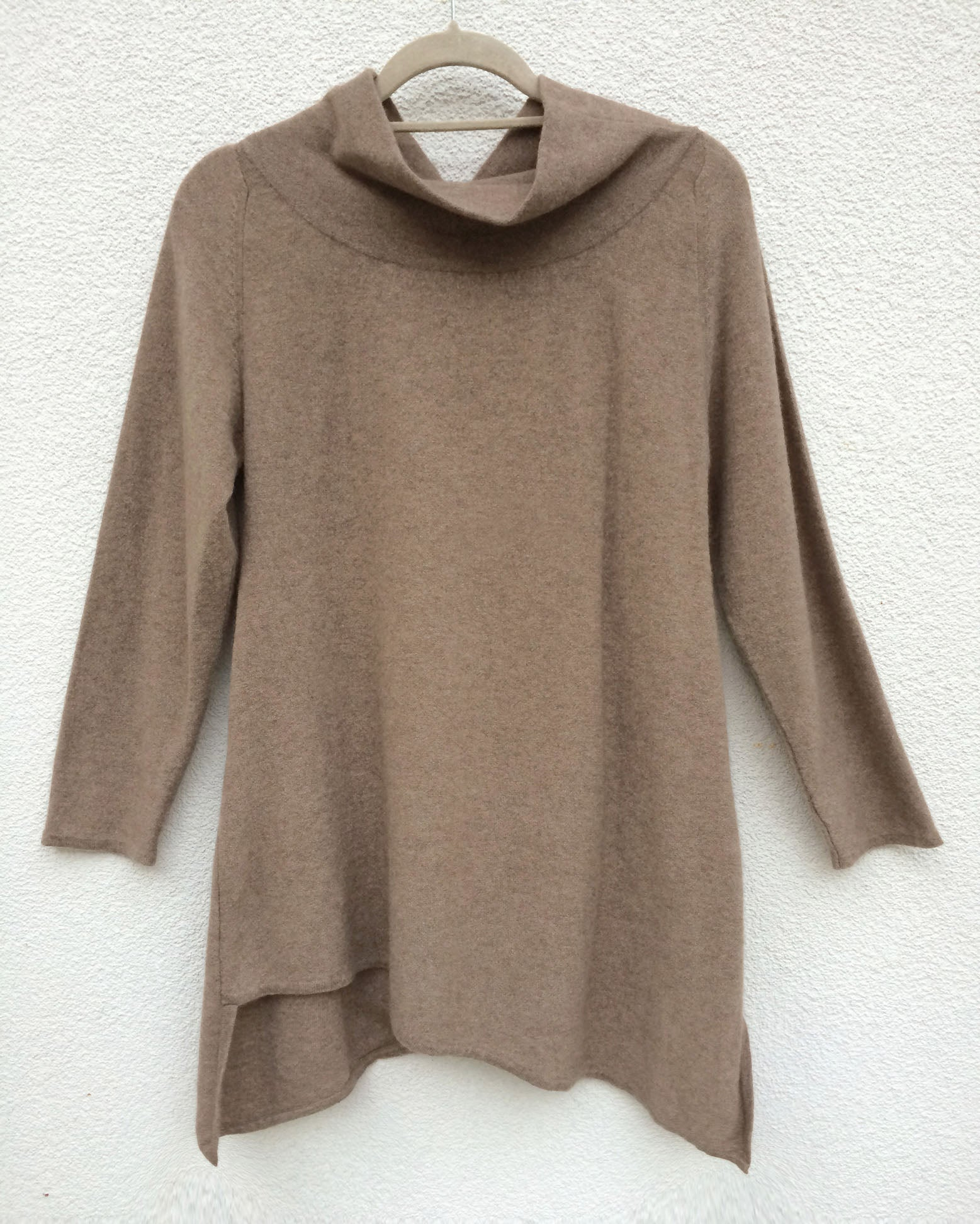 Triangle bottom Cashmere Tunic dress in biscuit beige