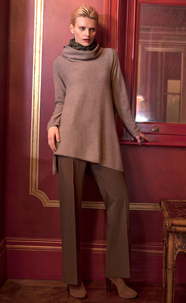 Triangle bottom Cashmere Tunic in biscuit beige