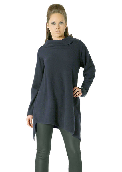 Triangle bottom Cashmere Tunic in navy