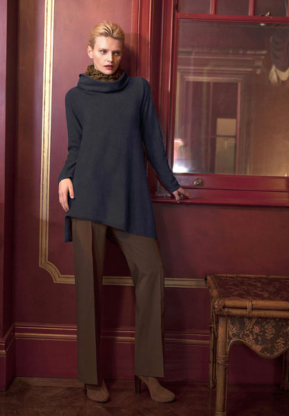 Triangle bottom Cashmere Tunic dress in navy