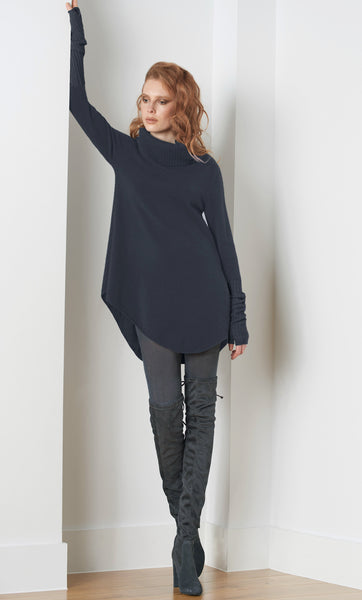 Cashmere Tunic Dress with Roll neck in Navy