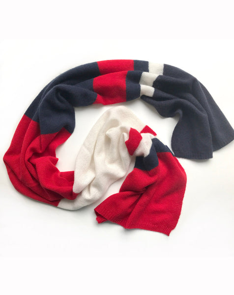 Light weight stripy scarf red cream navy