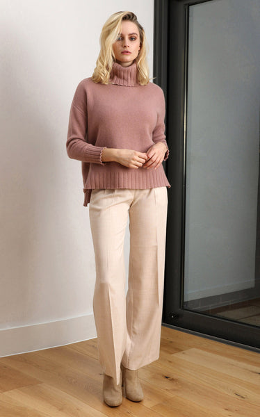 Chunky roll neck jumper in Nude pink