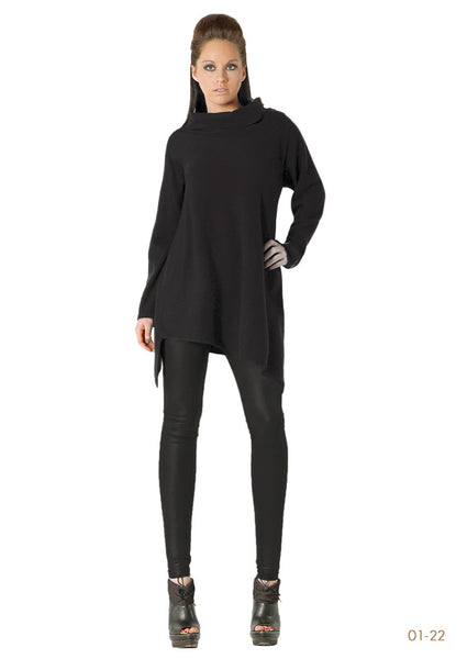 Triangle bottom Cashmere Tunic in Black