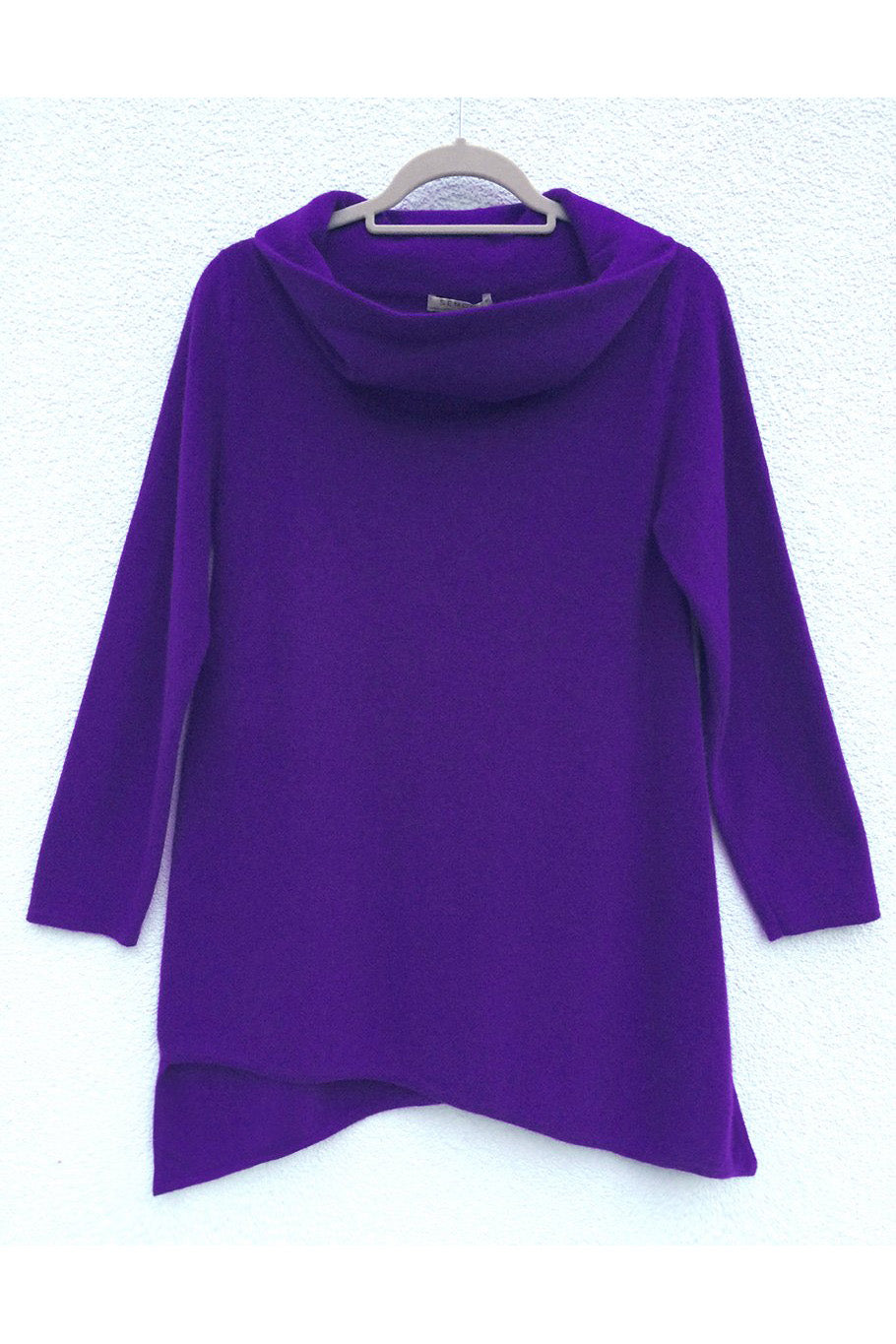 Triangle bottom Cashmere Tunic in Violet purple | SEMON Cashmere