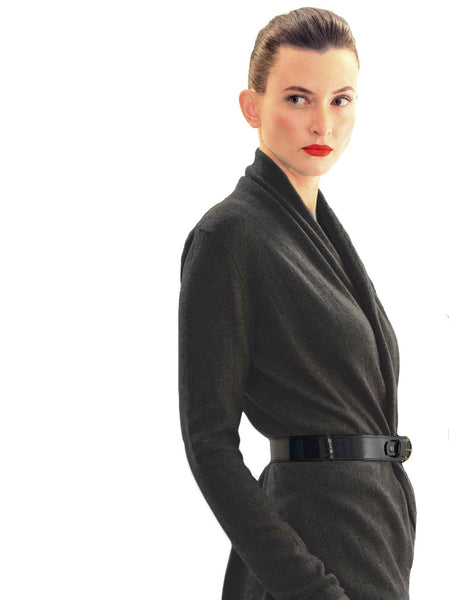 Women's luxury black Cashmere cardigan jacket, ladies light weight summer cardigan, open front tailored jacket, fitted shawl neck collared elegant cardigan sale, open V-neck sweater knit London UK | SEMON Cashmere