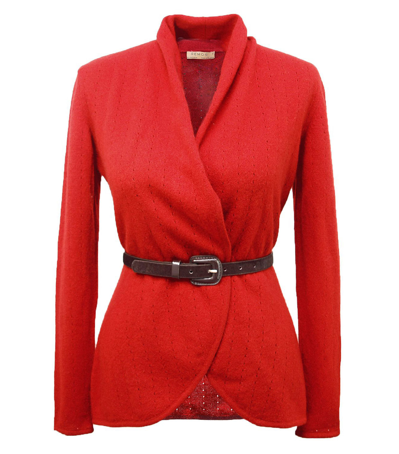 Bright red women's luxury Cashmere cardigan jacket, ladies light weight summer cardigan, open front tailored jacket, fitted shawl neck collared elegant cardigan sale, open V-neck sweater knit London UK | SEMON Cashmere