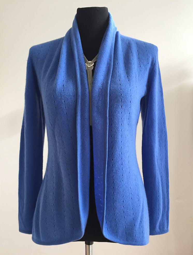 Cornflower blue women's luxury Cashmere cardigan jacket, ladies light weight summer cardigan, open front tailored jacket, fitted shawl neck collared elegant cardigan sale, open V-neck sweater knit London UK | SEMON Cashmere