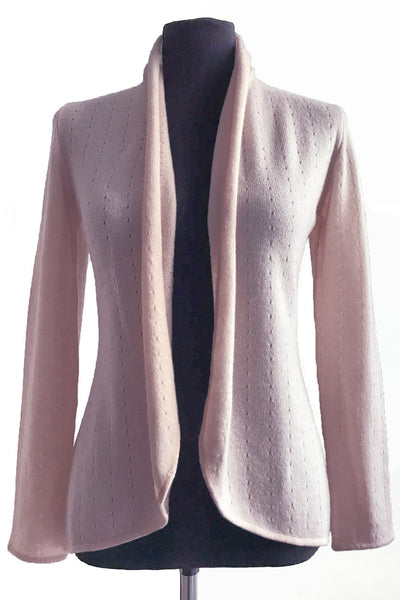 Pale pink womens luxury Cashmere cardigan jacket, ladies light weight summer cardigan, open front tailored jacket, fitted shawl neck collared elegant cardigan sale, open V-neck sweater knit London UK | SEMON Cashmere