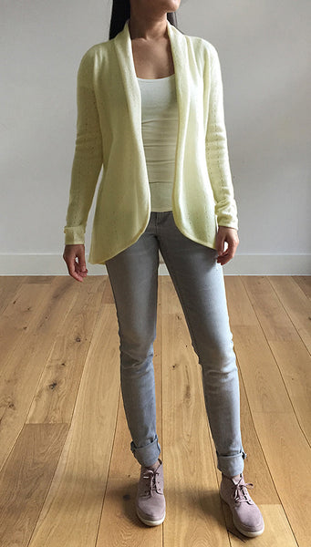 Pale lime green womens luxury Cashmere cardigan jacket, ladies light weight summer cardigan, open front tailored jacket, fitted shawl neck collared elegant cardigan sale, open V-neck sweater knit London UK | SEMON Cashmere