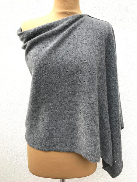 Mid grey Cashmere Poncho UK, Women Wrap, Cape, Shawls, Scarf, shawl, cardigan, light weight, summer poncho, ladies small button poncho sweater sale | SEMON Cashmere