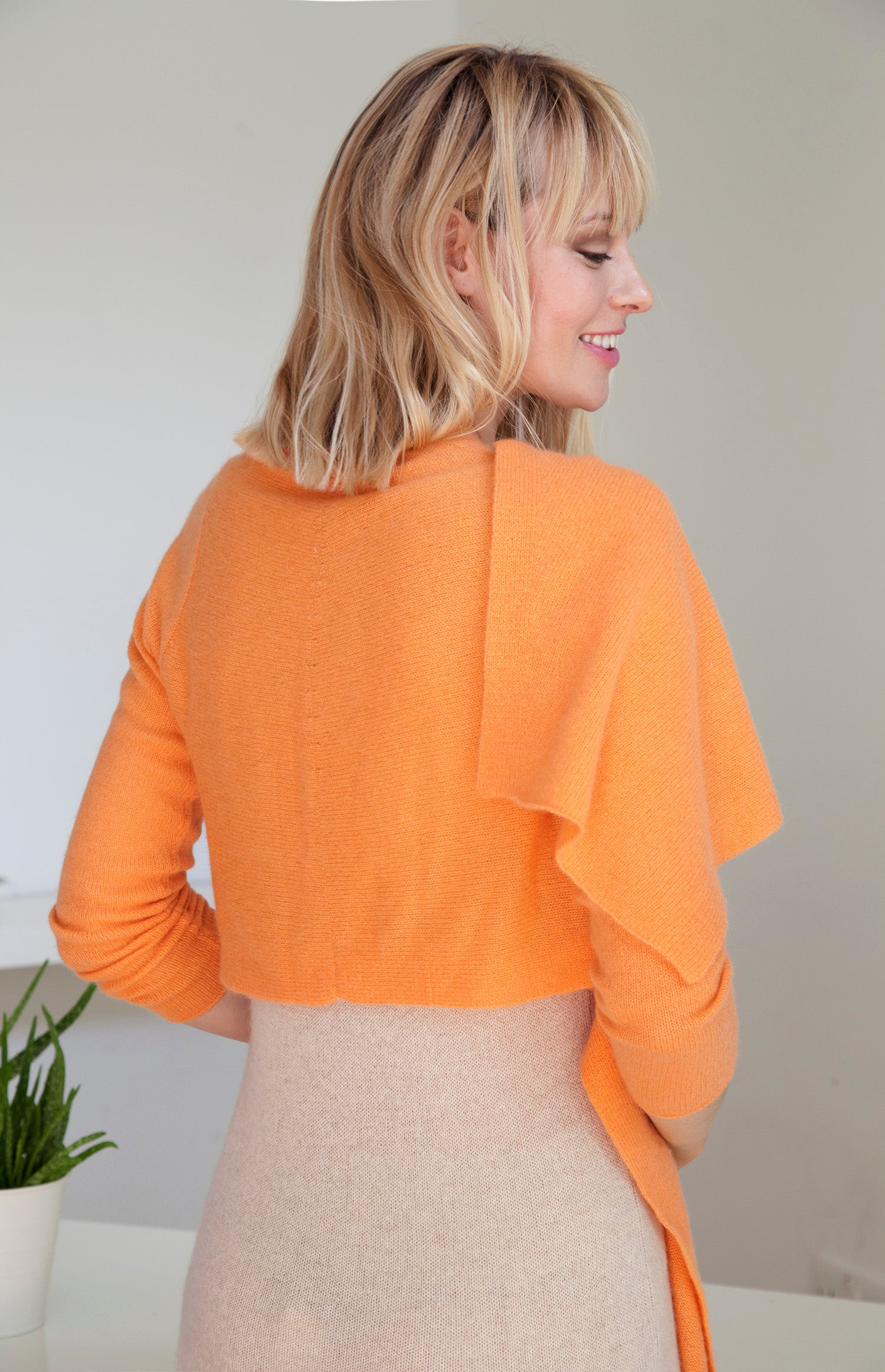 Long front light weight cashmere cardigan in soft orange
