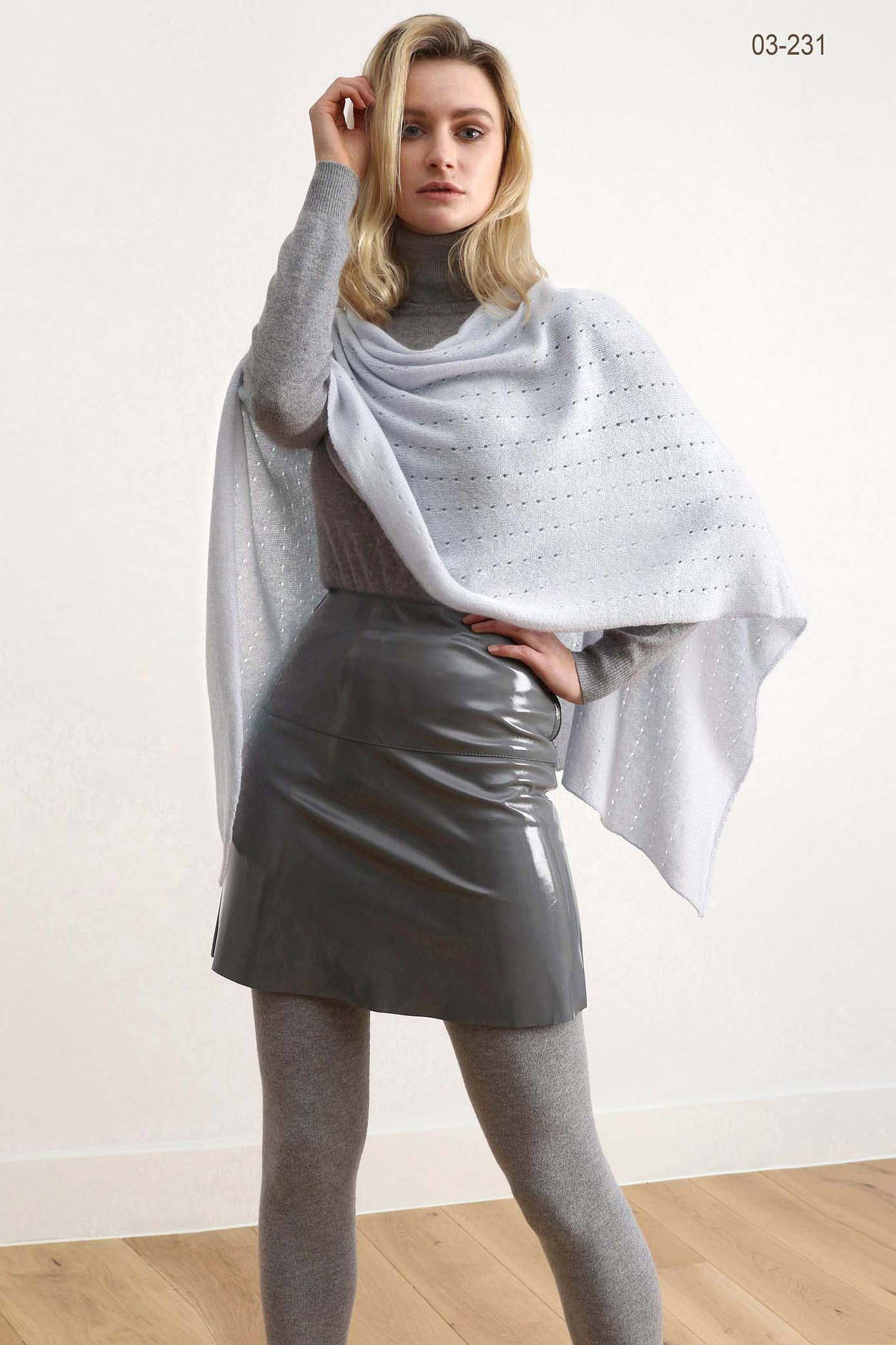 Pale grey cashmere poncho | Multiway lacy poncho with buttons