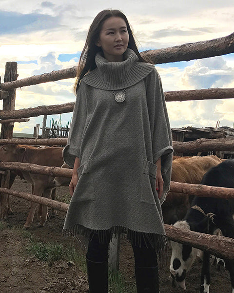 Oversized roll neck Wool Poncho in Beige Biscuit, turtle neck pullover tunic with pockets