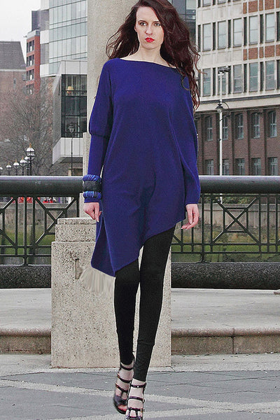 One sleeve knitted pure cashmere poncho in Indigo blue | SEMON Cashmere