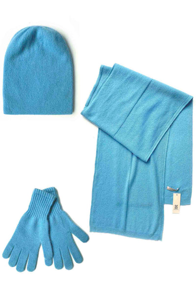 Womens 100% pure cashmere Bundle offer for hat scarf & gloves in sky blue | SEMON Cashmere