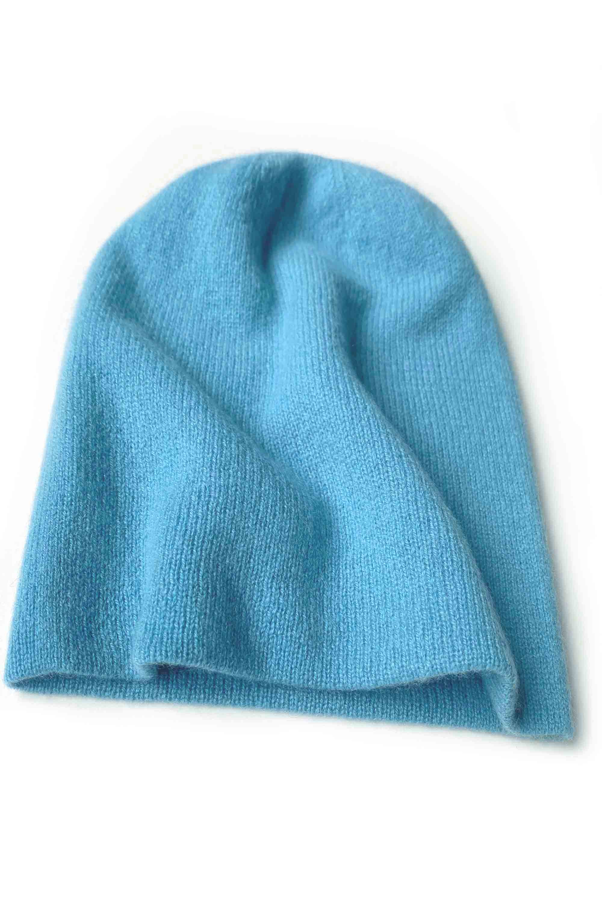 Womens 100% pure cashmere hat in sky blue | SEMON Cashmere