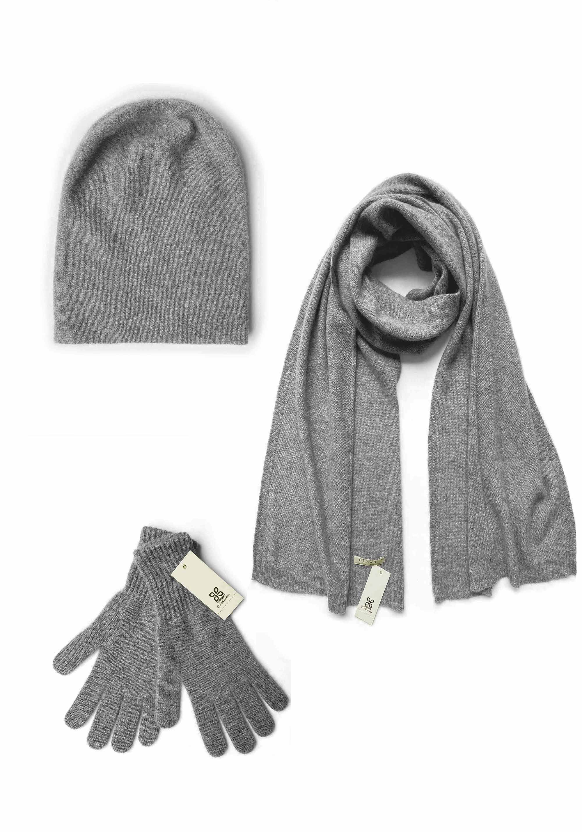 Womens 100% pure cashmere Bundle offer for hat scarf & gloves in mid grey | SEMON Cashmere;