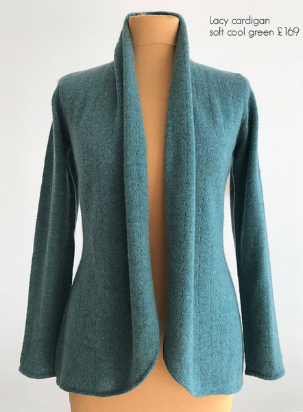 Lacy shawl neck cardigan in Soft cool green
