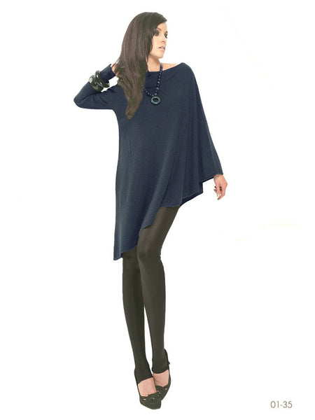 One sleeve cashmere poncho in Navy