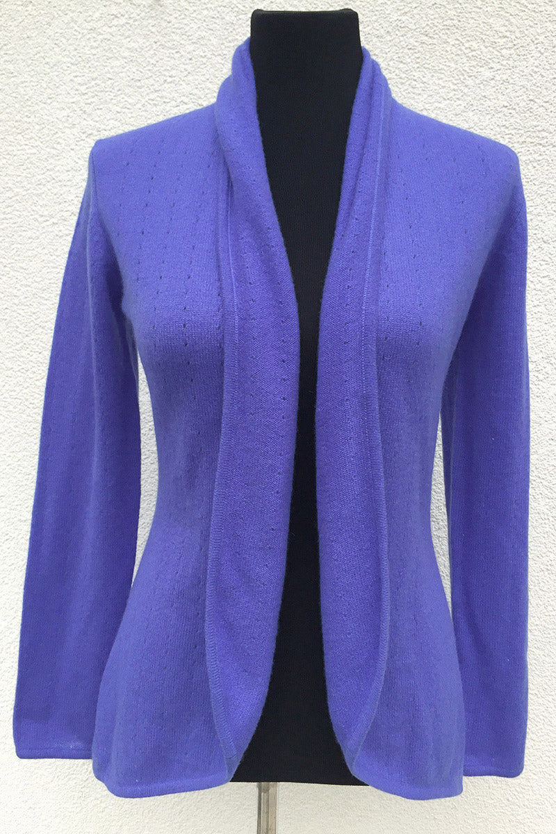 Lavender purple women's luxury Cashmere cardigan jacket, ladies light weight summer cardigan, open front tailored jacket, fitted shawl neck collared elegant cardigan sale, open V-neck sweater knit London UK | SEMON Cashmere