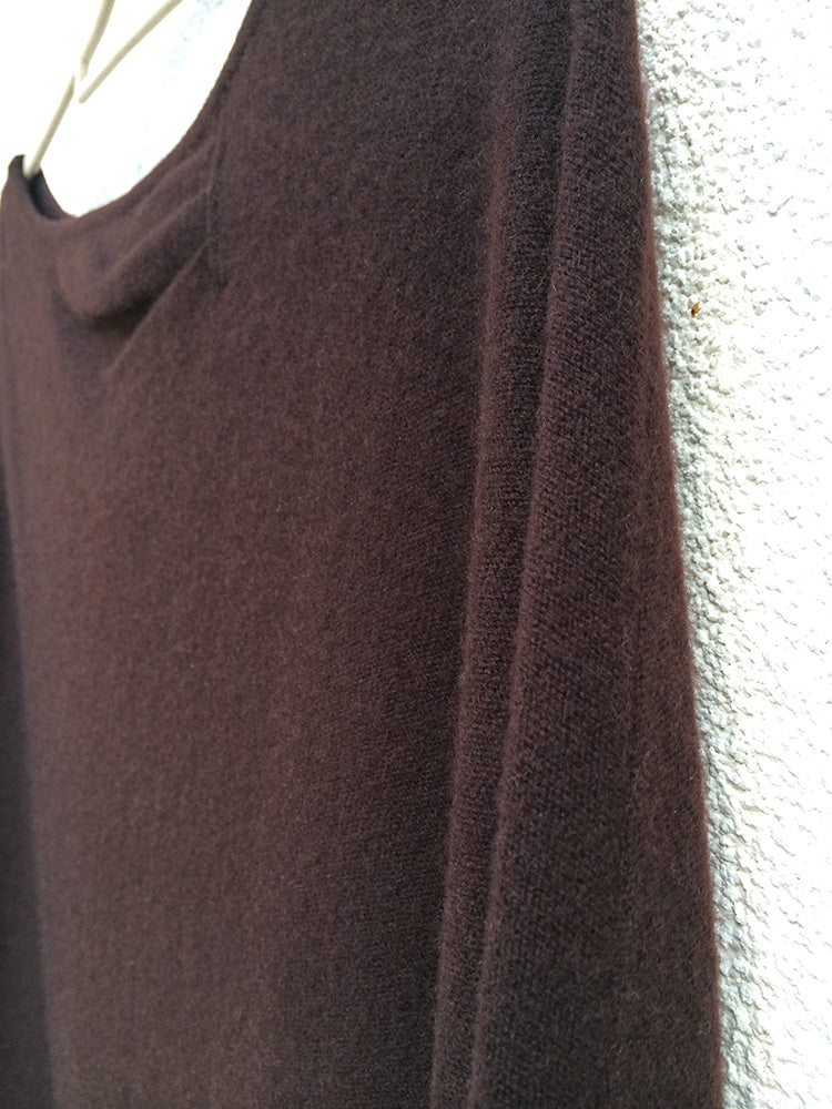 One sleeve cashmere poncho in Chocolate brown