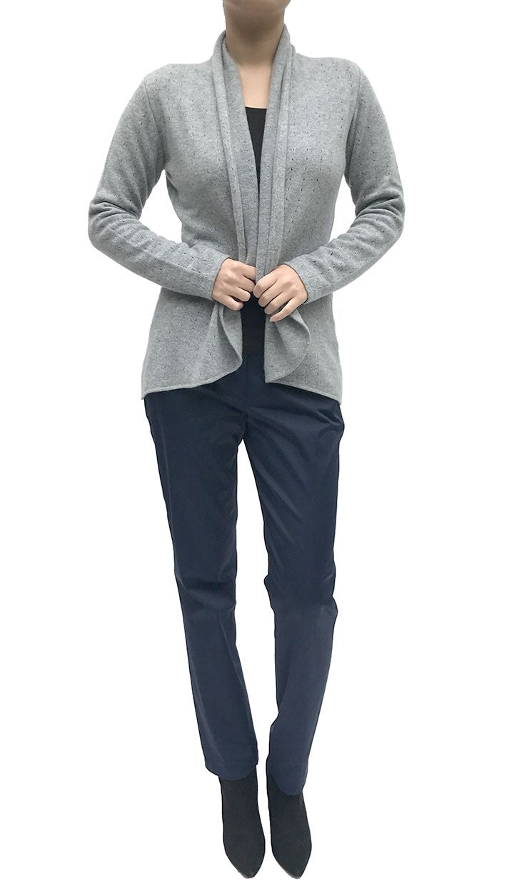 Silver grey womens luxury Cashmere cardigan jacket, ladies light weight summer cardigan, open front tailored jacket, fitted shawl neck collared elegant cardigan sale, open V-neck sweater knit London UK | SEMON Cashmere