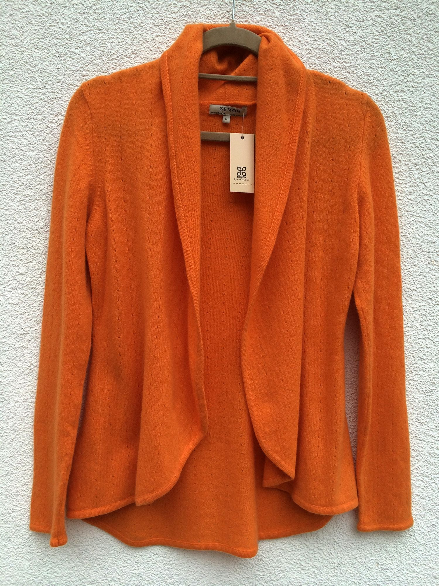 Burnt orange women's luxury Cashmere cardigan jacket, ladies light weight summer cardigan, open front tailored jacket, fitted shawl neck collared elegant cardigan sale, open V-neck sweater knit London UK | SEMON Cashmere