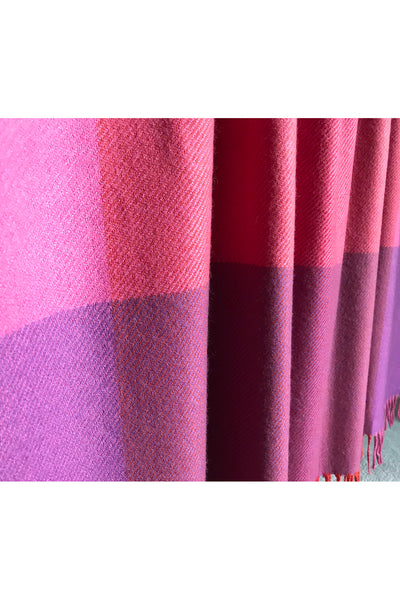 Thick cashmere wrap throw/blanket with the most beautiful red & pink mixed shades to complement your interior.