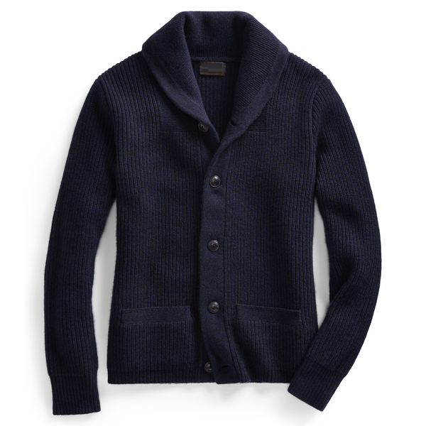 Hand knitted chunky cashmere cardigan in navy