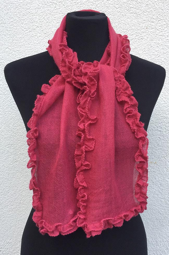 Ruffle edge small cashmere scarf in raspberry pink