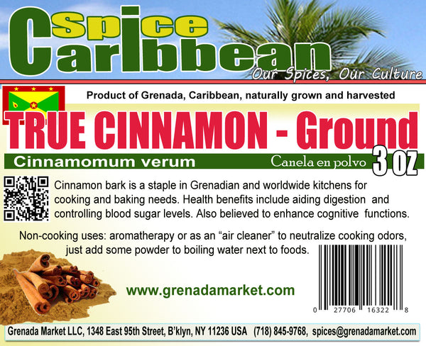 CINNAMON - GROUND (TRUE CINNAMON) - cinnamomum verum (3 Oz resealable pouch, Grenada)
